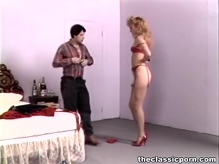 Retro wife in high heels crazy make love